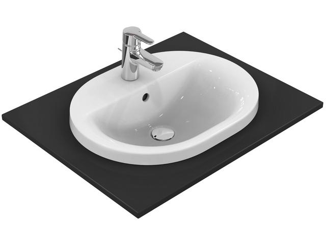 IS Einbauwaschtisch Connect oval 1Hl. m.Ül. 550x430x175mm Weiß m. Ideal Plus