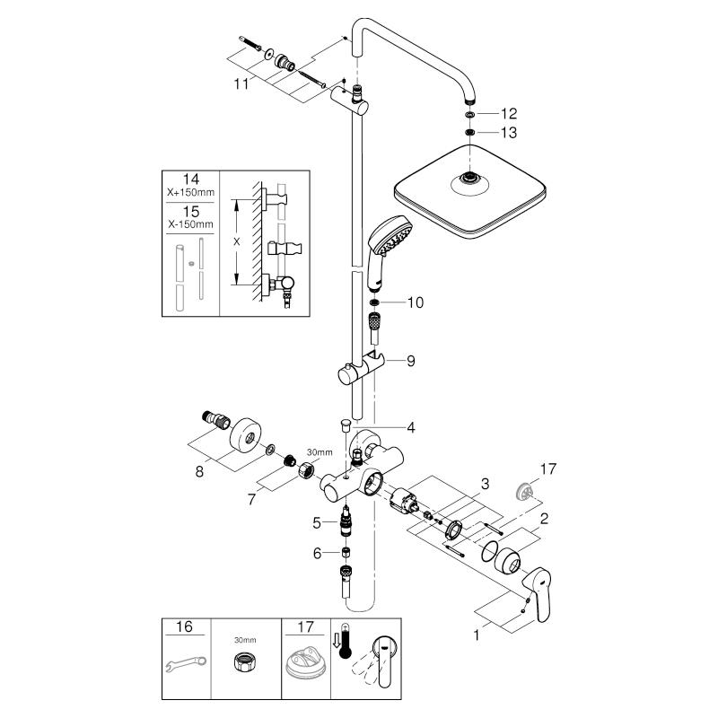 GROHE Duschsystem Tempesta C 250 Cube 26692 Brause-EHM Brausearm 390mm chrom
