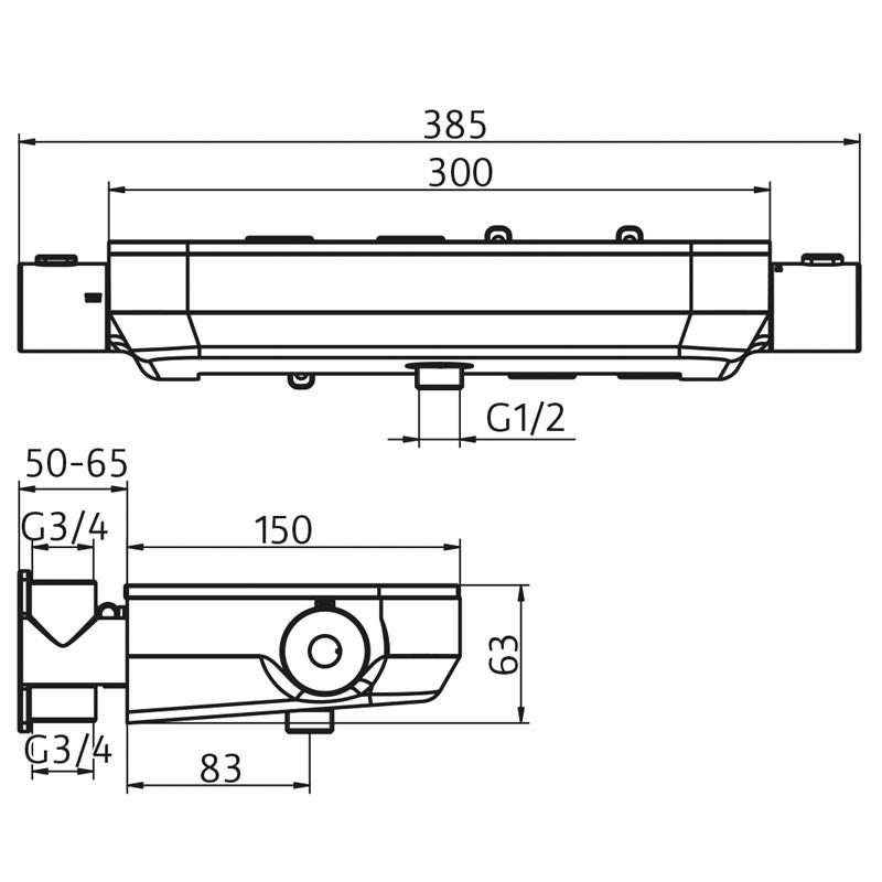 HSK  AquaTray Unterputz Thermostat mit 3 Abgängen