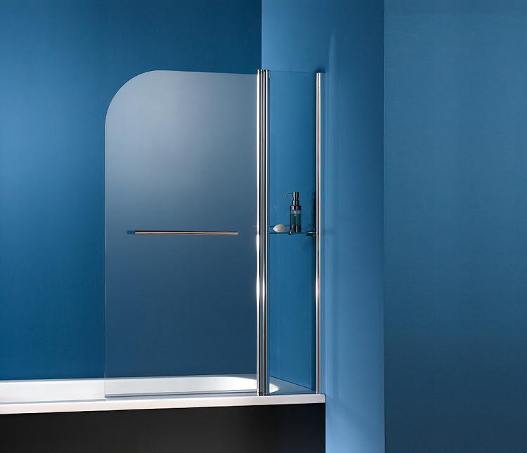 HSK Exklusiv Badewannenaufsatz, 2-teilig inkl. Handtuchhalter (Chrom) + Glasablage Rechts Linea.02 ohne Beschichtung inkl. Aufmaßservice