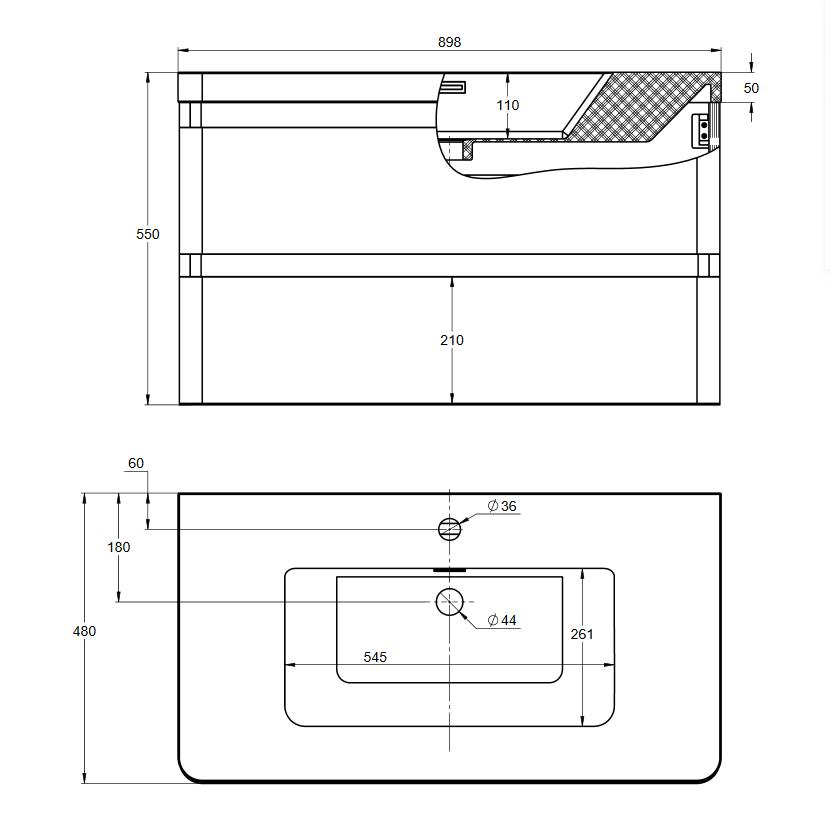 Treos Badmöbel mit Hahnloch, Graphit Grau Hochglanz - 900x477x550 mm