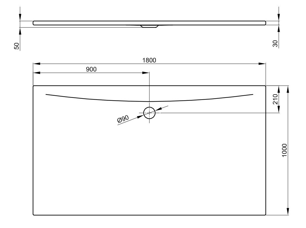Bette Floor Side - 1800x1000 mm Manhattan (002) inkl. Antirutsch exkl. Wannenträger