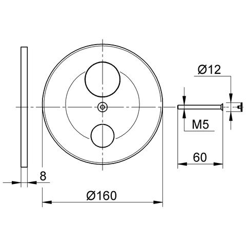 GROHE Wandrosette 440433 für Unterputz-Wannenbatterie MultiFlow chrom