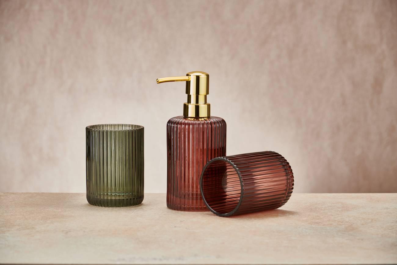 Accessoires Antoinette Glas Olivgrün Seifenspender