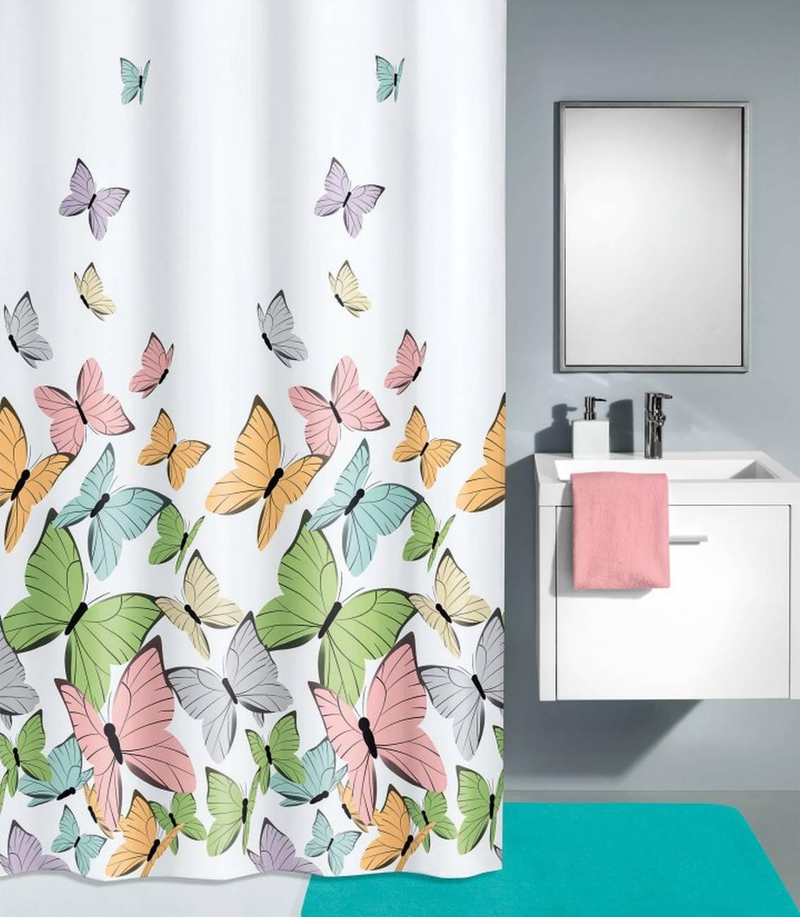 Duschvorhang Butterflies 100 % Polyester Multicolor 240x180 cm
