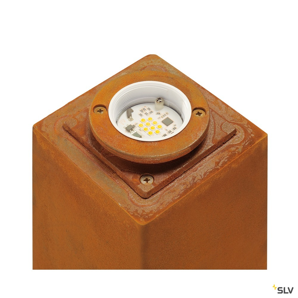 RUSTY SQUARE 40, Outdoor Standleuchte, LED, 3000K, eckig, stahl gerostet, L/B/H 12/12/40