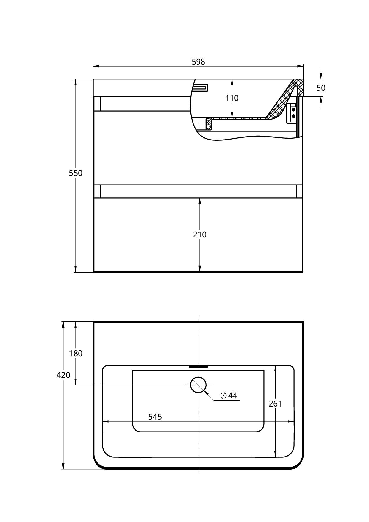 Treos Badmöbel ohne Hahnloch weiss-lack 600x420x550 mm