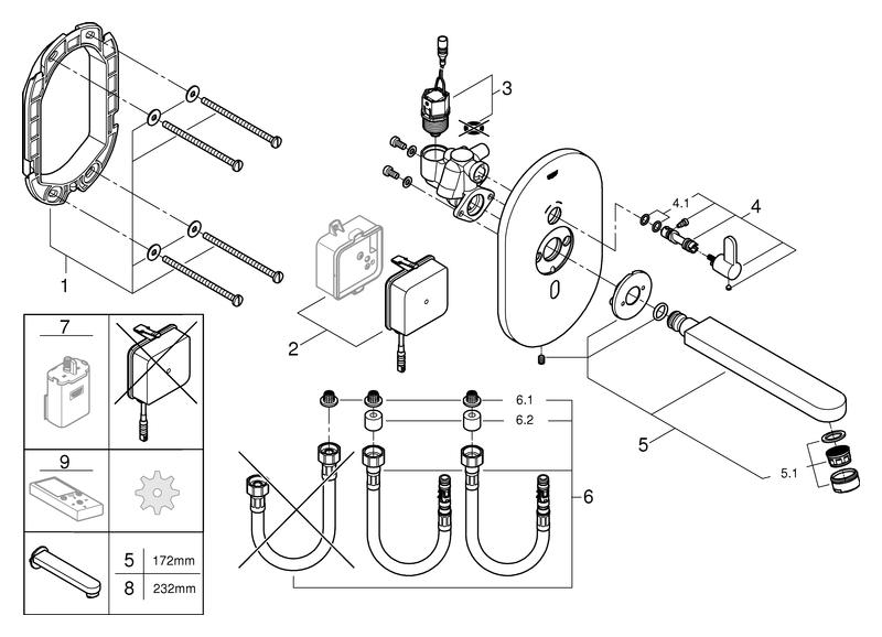 GROHE IR-Elektronik für WT Eurosmart CE 36315 FMS mit Mischung 230V chrom