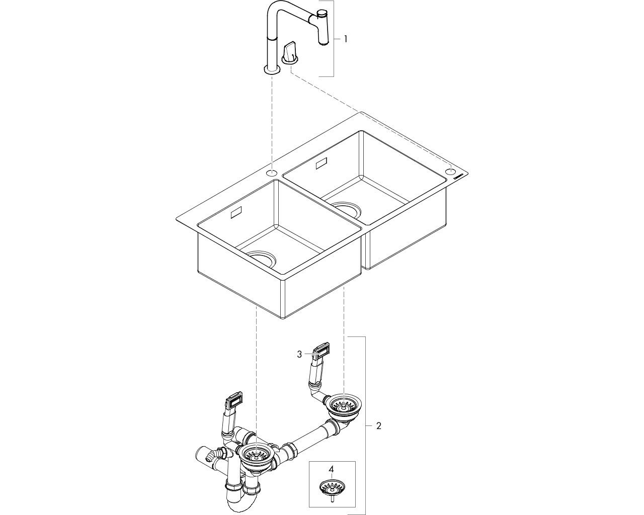 HG Spülencombi C 71 edelstahl-optik
