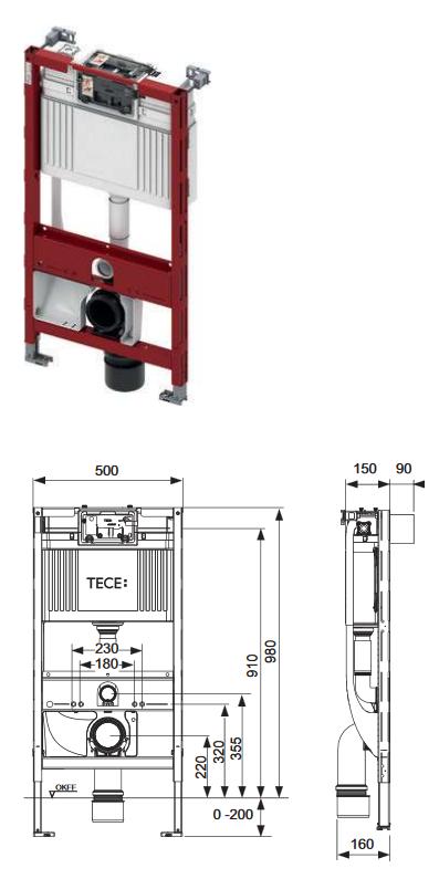 TECE Vorwandelement für Dusch-WCs, 980mm