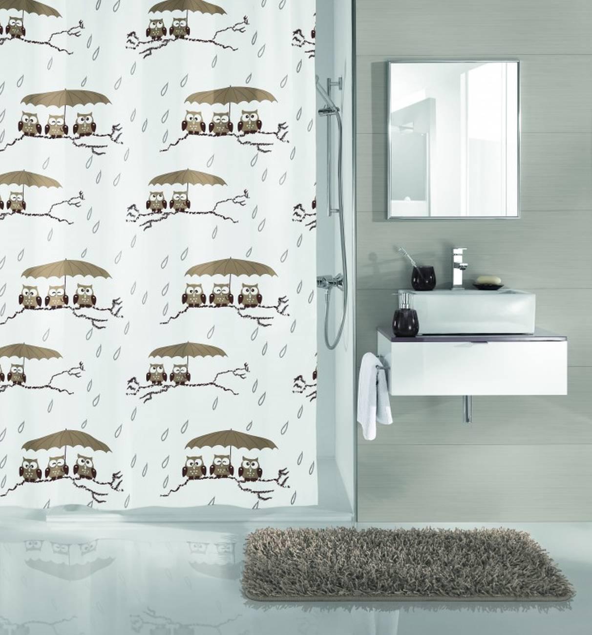 Duschvorhang Eulen 100 % Polyester Taupe 180x180 cm