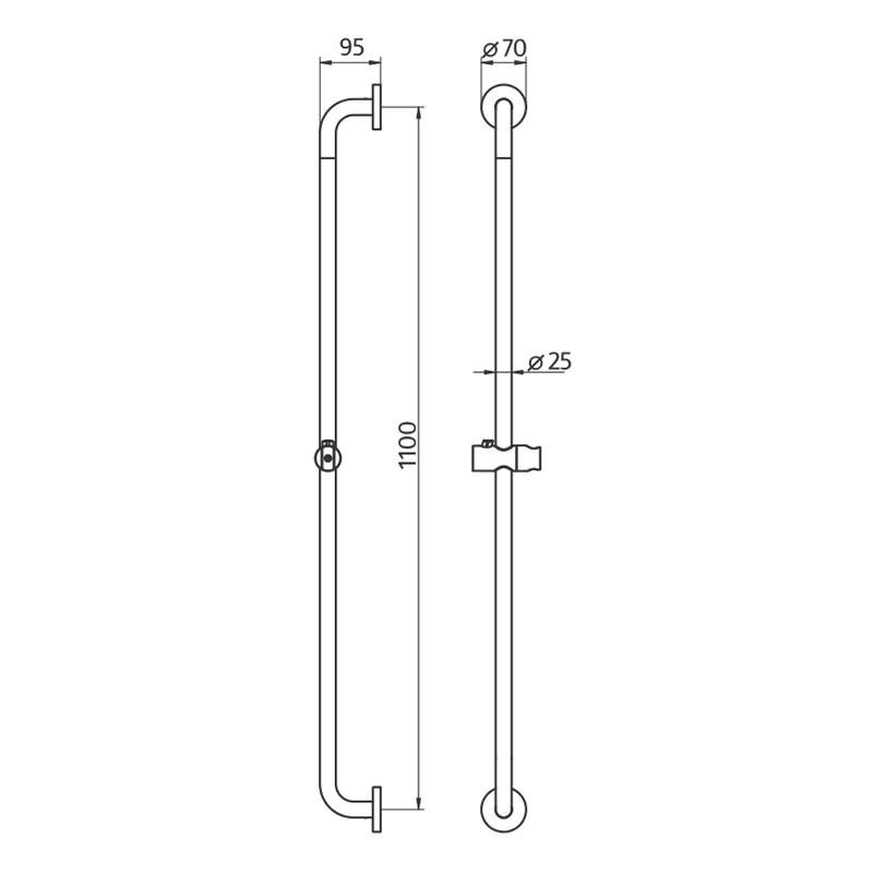 HSK Komfort & Pflege - Solida Stützgriff, Gerade - 1100 mm