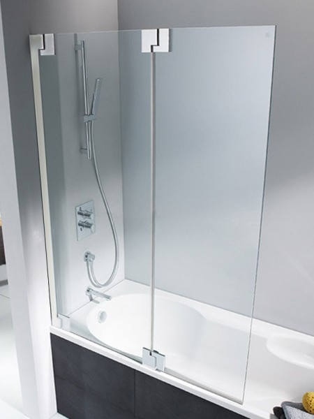 HSK K2P Badewannenaufsatz 2 bewegliche Elemente Rechts Klar Hell verspiegelt ohne Beschichtung exkl. Aufmaßservice