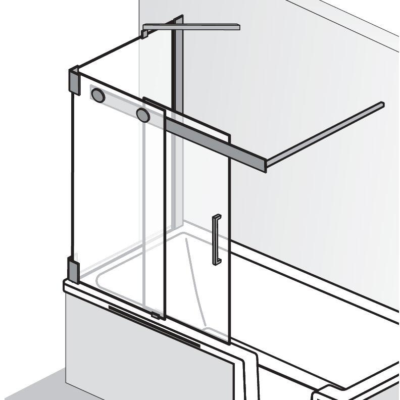 HSK Badewannenaufsatz K2P Schiebetür, 2-teilig + Seitenwand - 1040 mm Links Riegelgriff mit Handtuchhalter Linea.02 ohne Beschichtung exkl. Aufmaßservice