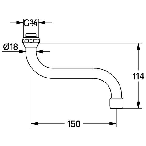 GROHE S-Auslauf 13005 Ausladung 150mm für Küchen-Wandbatterien 1/2'' chrom