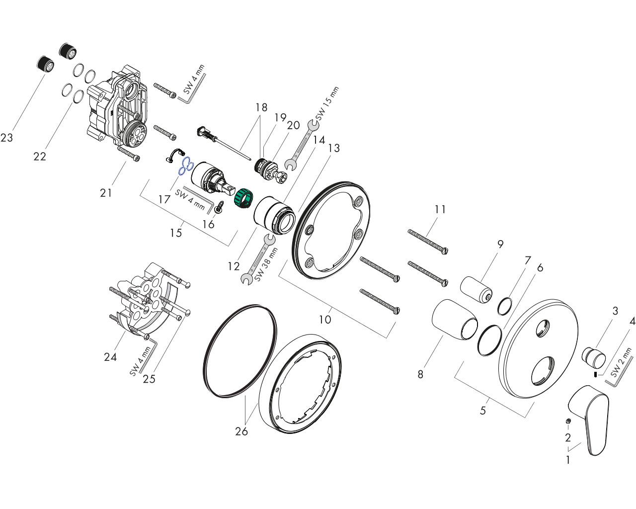 hansgrohe Focus Einhebel-Wannenmischer Unterputz inklusive Grundkörper