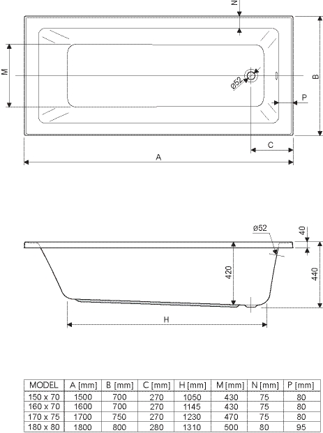 """Harmonie"" Badewanne Rechteck - 1700x750x420 mm exkl. Wannenfuß exkl. Montagewinkel inkl. Wannenanker inkl. Wannendichtband exkl. Nackenkissen inkl. Acryl-Pflegeset"