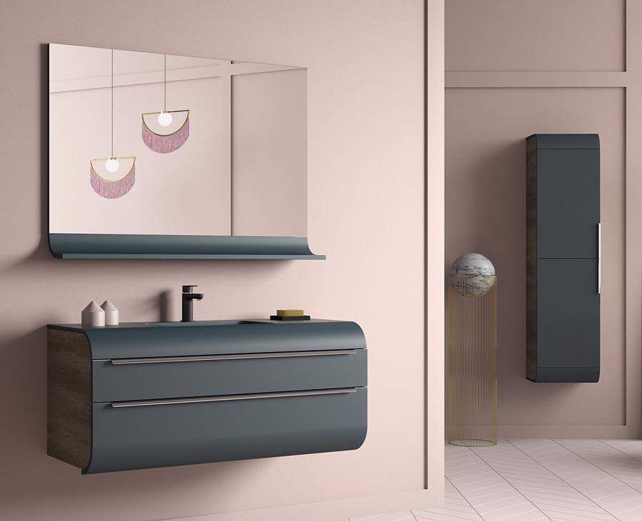 Thielsch Badmöbel Happy Set inkl. Waschtisch 120 cm Indigo Blue Mattlackiert PVC Nebraska exkl. Wandschrank