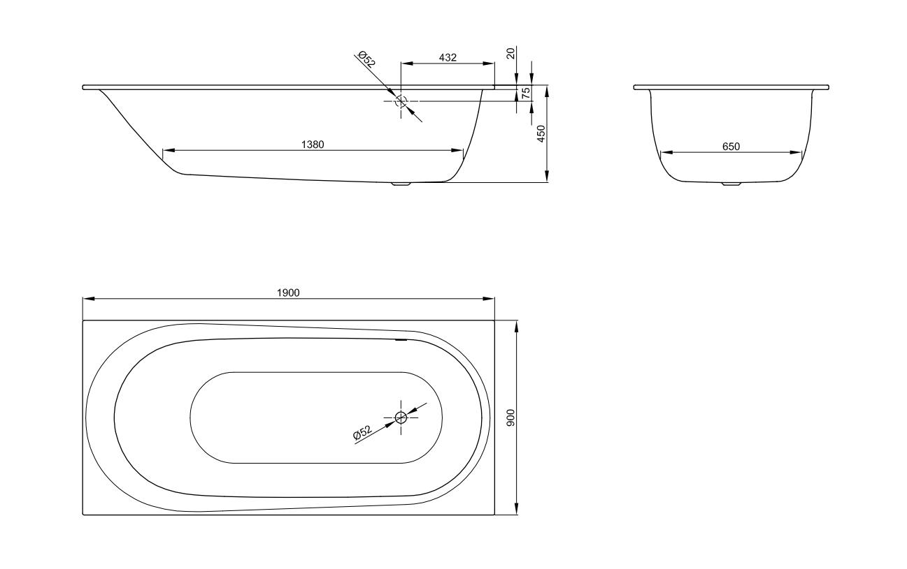 Bette Comodo mit seitl. Überlauf - 1900×900 mm (Fußende rechts/Überlauf hinten) Weiß exkl. Antirutsch exkl. Wannenträger