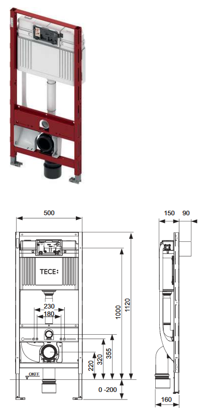 TECE Vorwandelement für Dusch-WCs, 1120mm