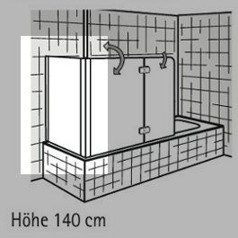 HSK Seitenwand zu Badewannenaufsatz Exklusiv - 700 mm Links inkl. Aufmaßservice mit Beschichtung Weiß Klar Hell verspiegelt
