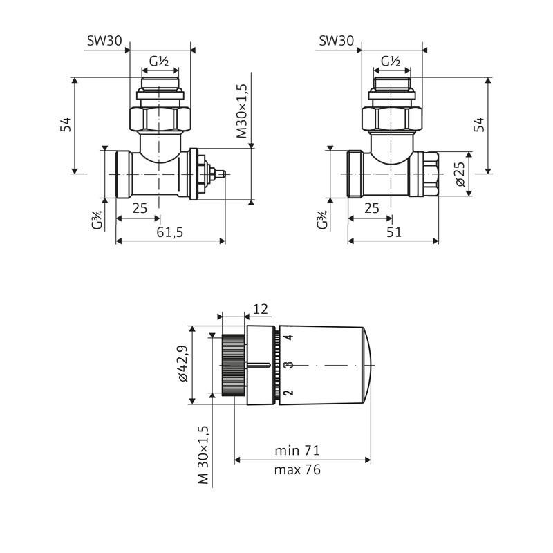 HSK Seitenanschluss Wand Ventil-Set Eck