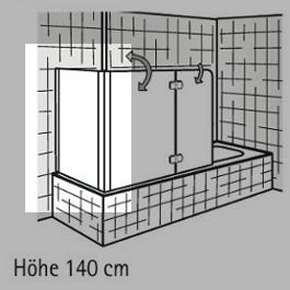 HSK Seitenwand zu Badewannenaufsatz Exklusiv - 700 mm Rechts inkl. Aufmaßservice mit Beschichtung Chromoptik TwinSeal
