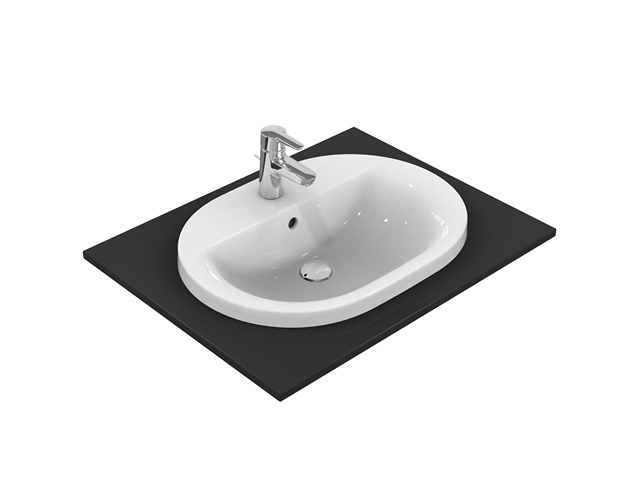 IS Einbauwaschtisch Connect oval 1Hl. m.Ül. 620x460x175mm Weiß m. Ideal Plus