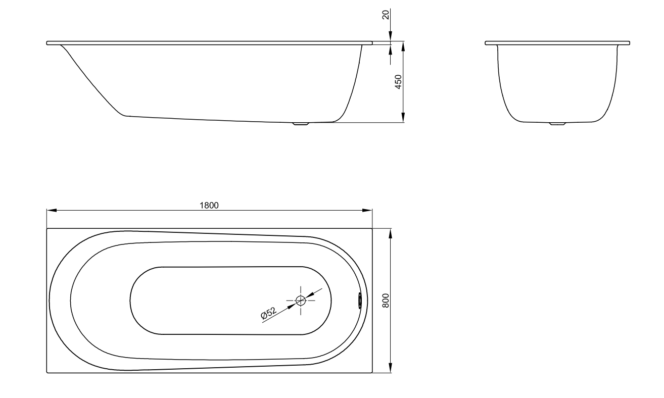 Bette Comodo - 1800×800 mm Weiß exkl. Antirutsch inkl. Wannenträger