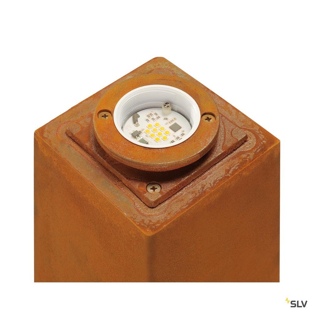RUSTY SQUARE 70, Outdoor Standleuchte, LED, 3000K, eckig, stahl gerostet, L/B/H 12/12/71