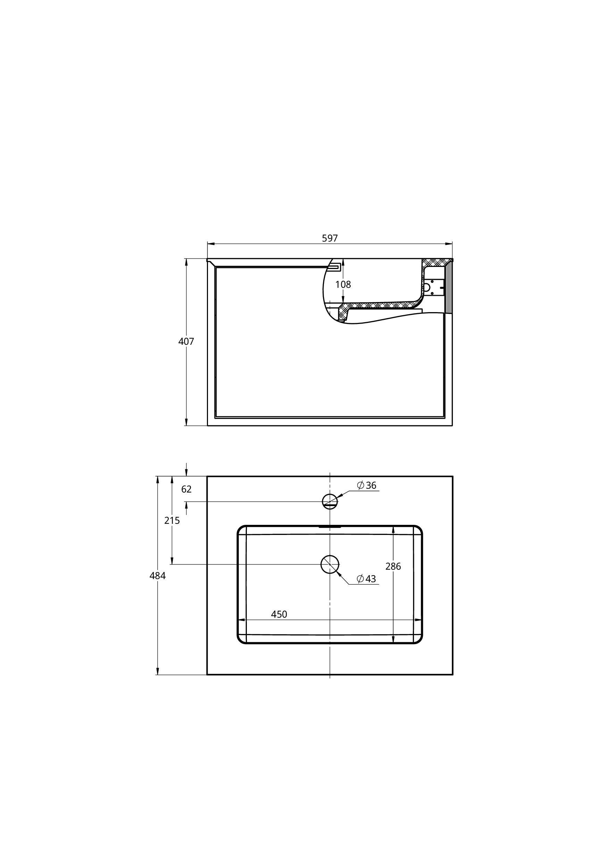 Treos Badmöbel mit Hahnloch Farbe weiss, Front foak 597x484x407 mm