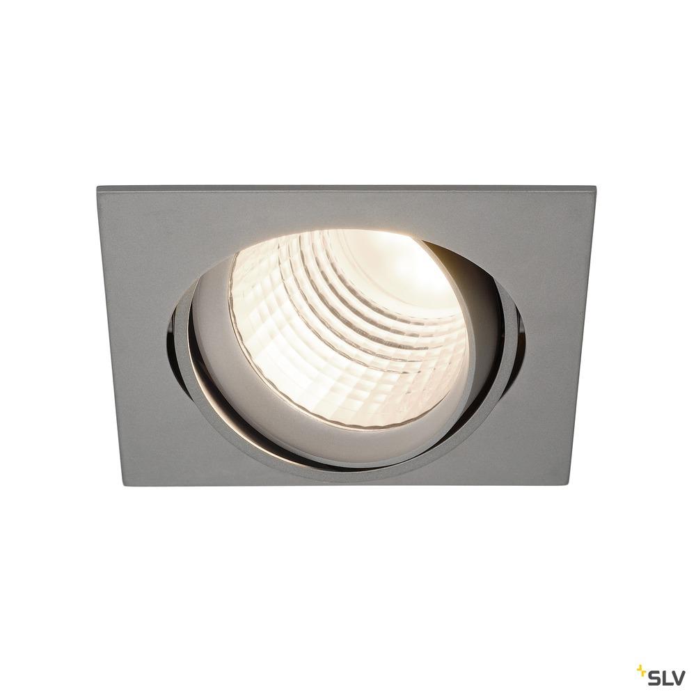 NEW TRIA DLMI, Einbauleuchte, LED, 4000K, eckig, silbergrau, 60°, schwenkbar, inkl. Clipfedern