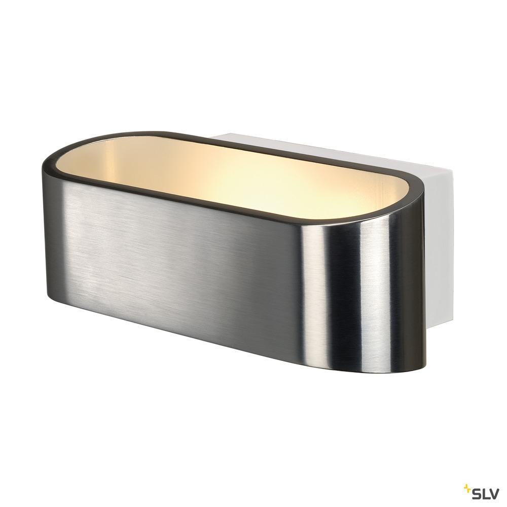 ASSO 70, Wandleuchte, LED, 3000K, oval, aluminium gebürstet /weiß, L/B/H 18/9,5/7,1 cm