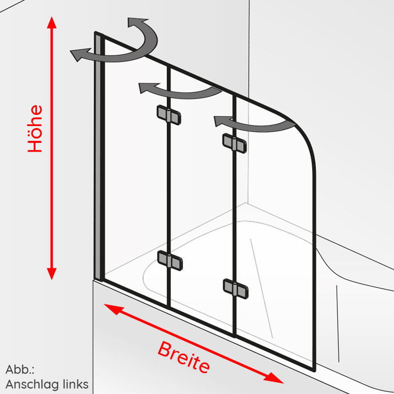 HSK Premium Softcube Badewannenaufsatz, 3-teilig Links inkl. Aufmaßservice ohne Beschichtung Chromoptik Carré