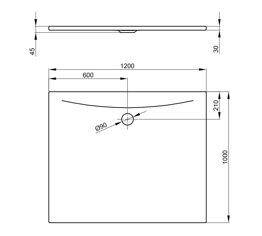 Bette Floor Side - 1200x1000 mm Weiß exkl. Antirutsch exkl. Wannenträger