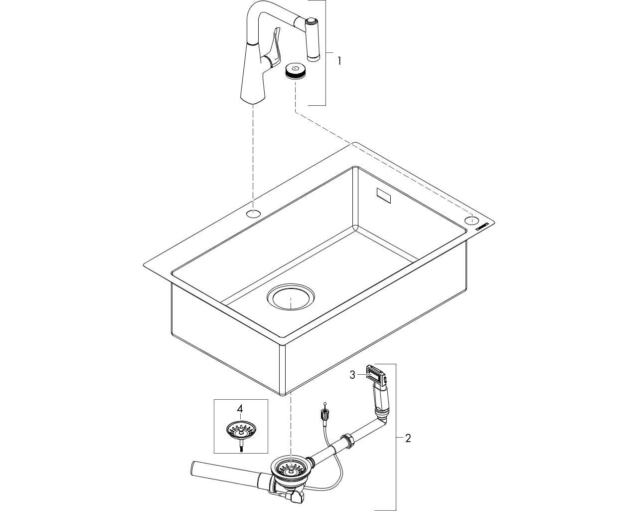 HG C71 Select Spülencombi  edelstahl gebürstet