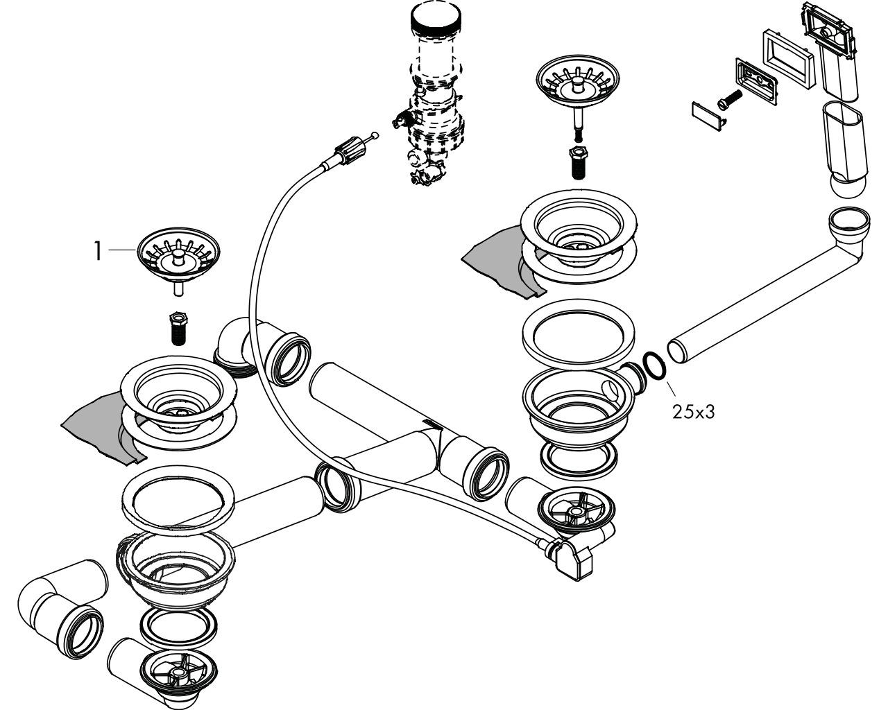 HG Select Automatische Ab- und Überlaufg.Doppelbecken