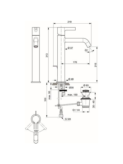 IS Display WT-Armatur JOY m.verl.Sockel m.Ablgarn. Ausld.170mm Magnetic grey