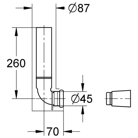 GROHE Wandeinbau-Spülrohr 43908 komplett zu Wandeinbau-Spülkasten 280mm lang