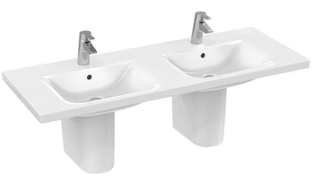 IS Möbeldoppelwaschtisch Connect je 1 Hl. m.Ül. 1300x490x175mm Weiß