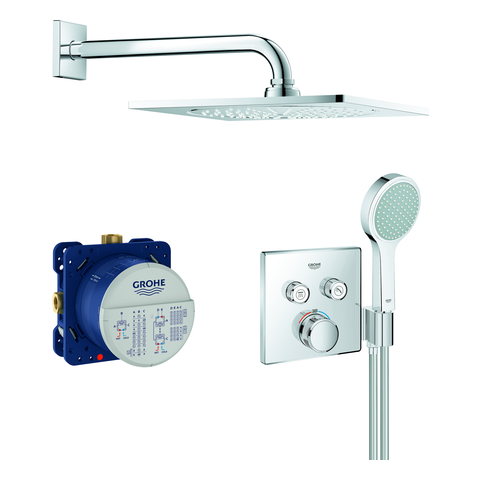 GROHE UP-Duschsys. GrohthermSmartControl 34742 eckige Form mit THM/KB/HB chrom