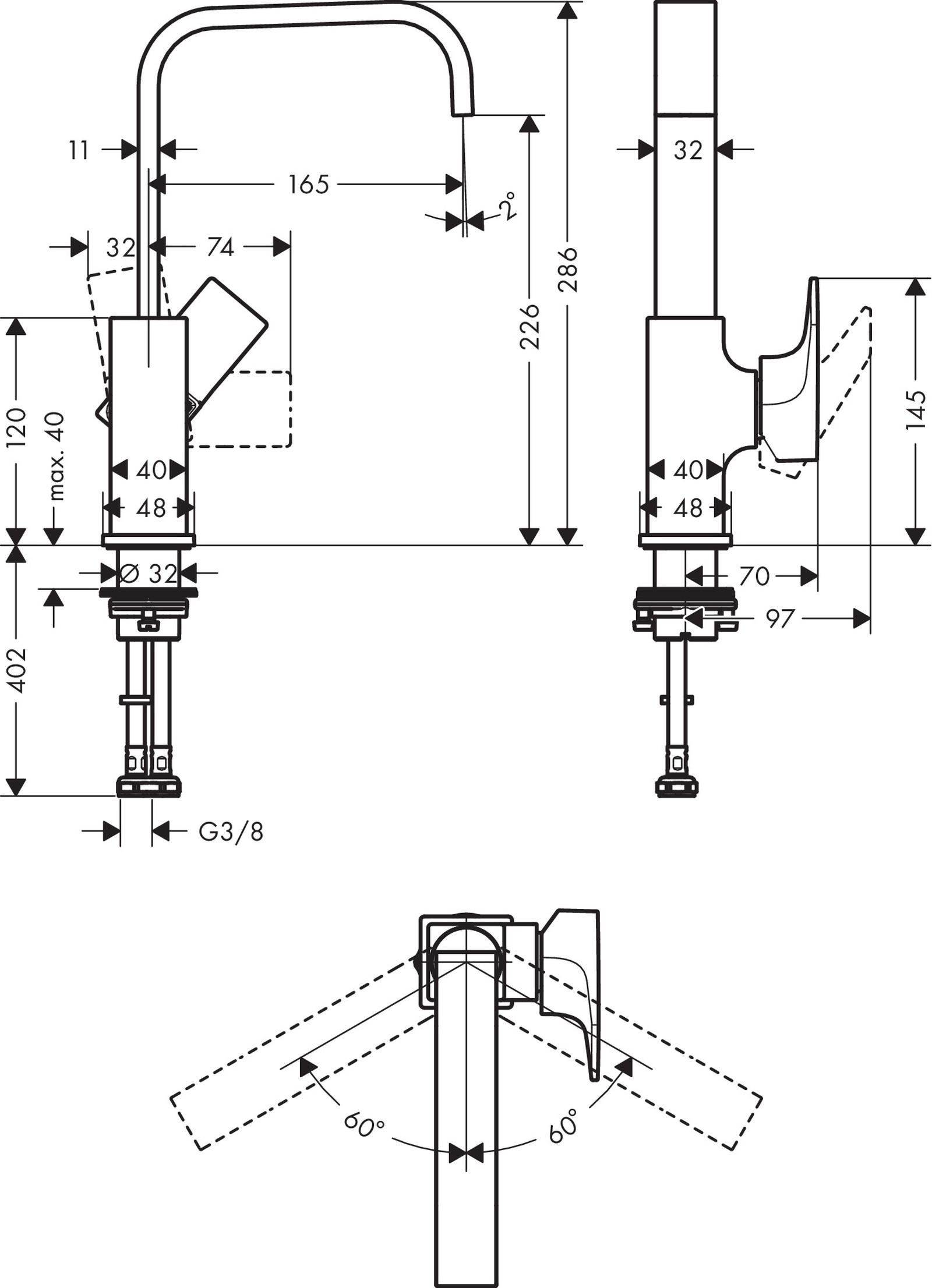 HG Waschtischmischer 230 Metropol BBR