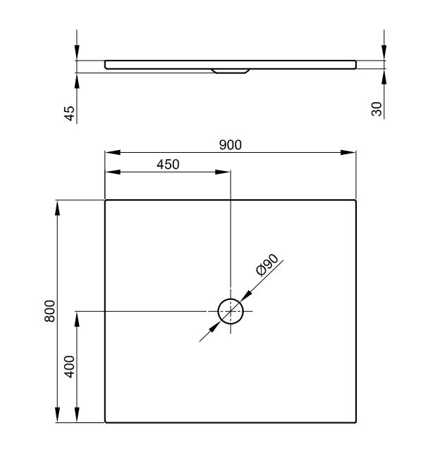 Bette Floor - 900x800 mm Weiß exkl. Antirutsch exkl. Wannenträger