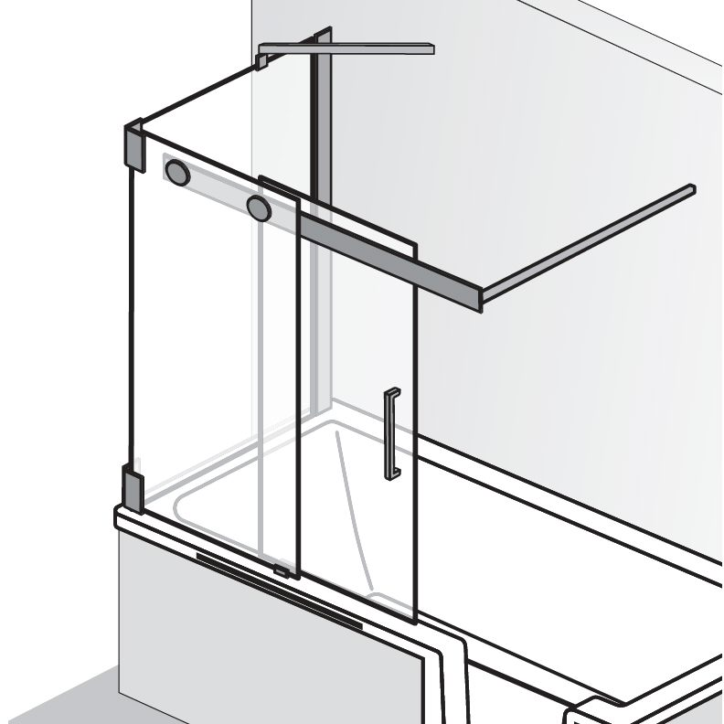HSK Badewannenaufsatz K2P Schiebetür, 2-teilig + Seitenwand - 1040 mm Links Riegelgriff ohne Handtuchhalter Carré ohne Beschichtung exkl. Aufmaßservice