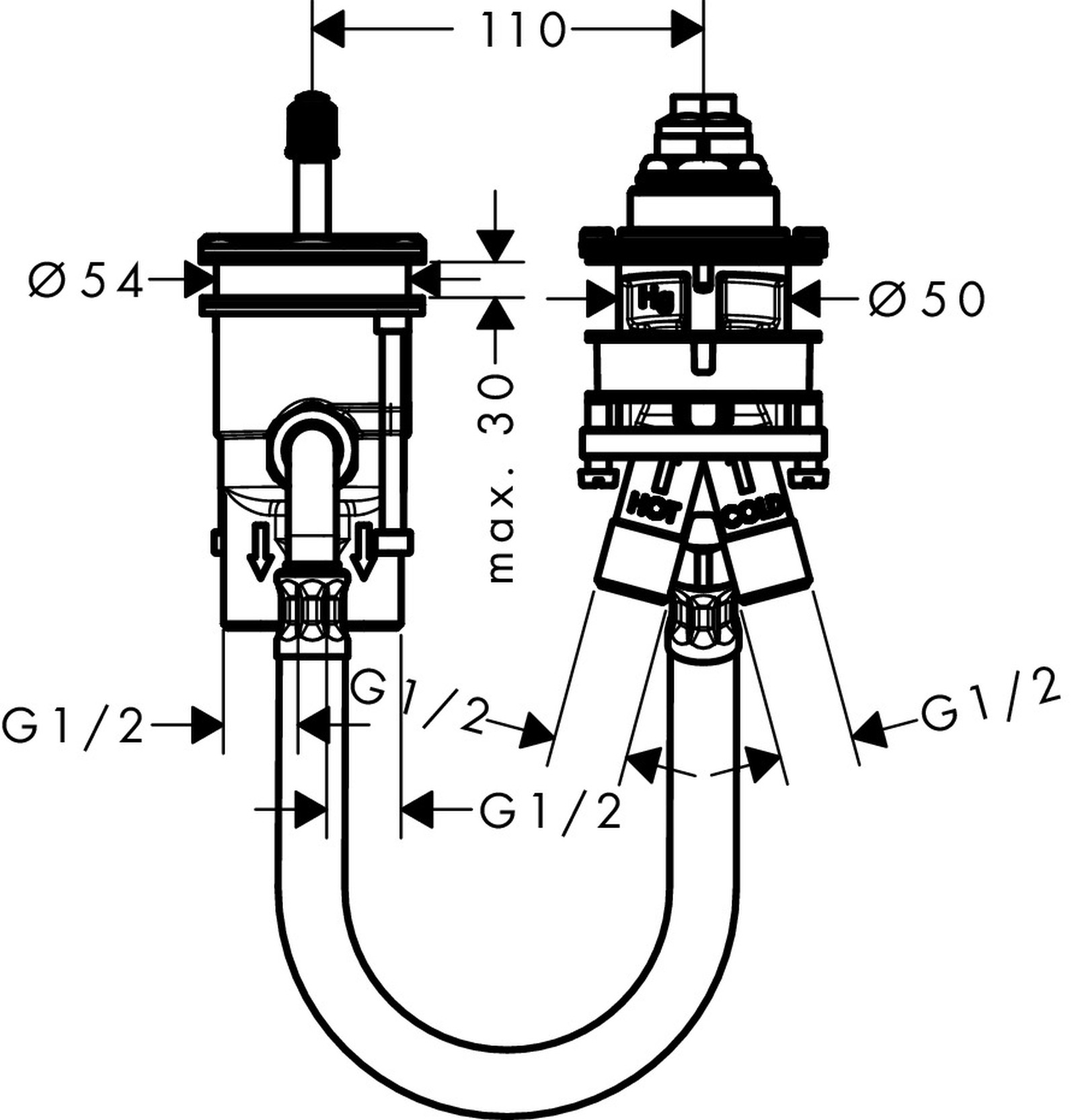 HG 2-Loch Wannenarmatur Grundkörper