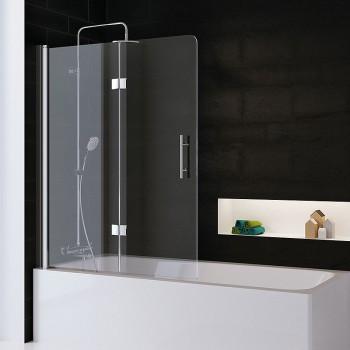 HSK Favorit Nova Badewannenaufsatz, 2-teilig - 1000 mm Links Alu Silber-Matt exkl. Stangengriff Glasmattierung mittig mit Beschichtung inkl. Aufmaßservice