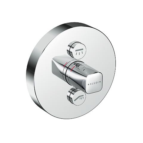 KLUDI PUSH UP-Arm. mit Rotationskartusch mit Drucktaste für 2 Verb., rund chrom