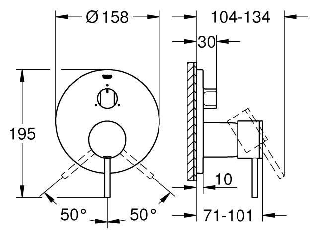 GROHE Einhandbatterie Atrio 24096_3 FMS für 35600 3-Wege Umstellung cool sunrise