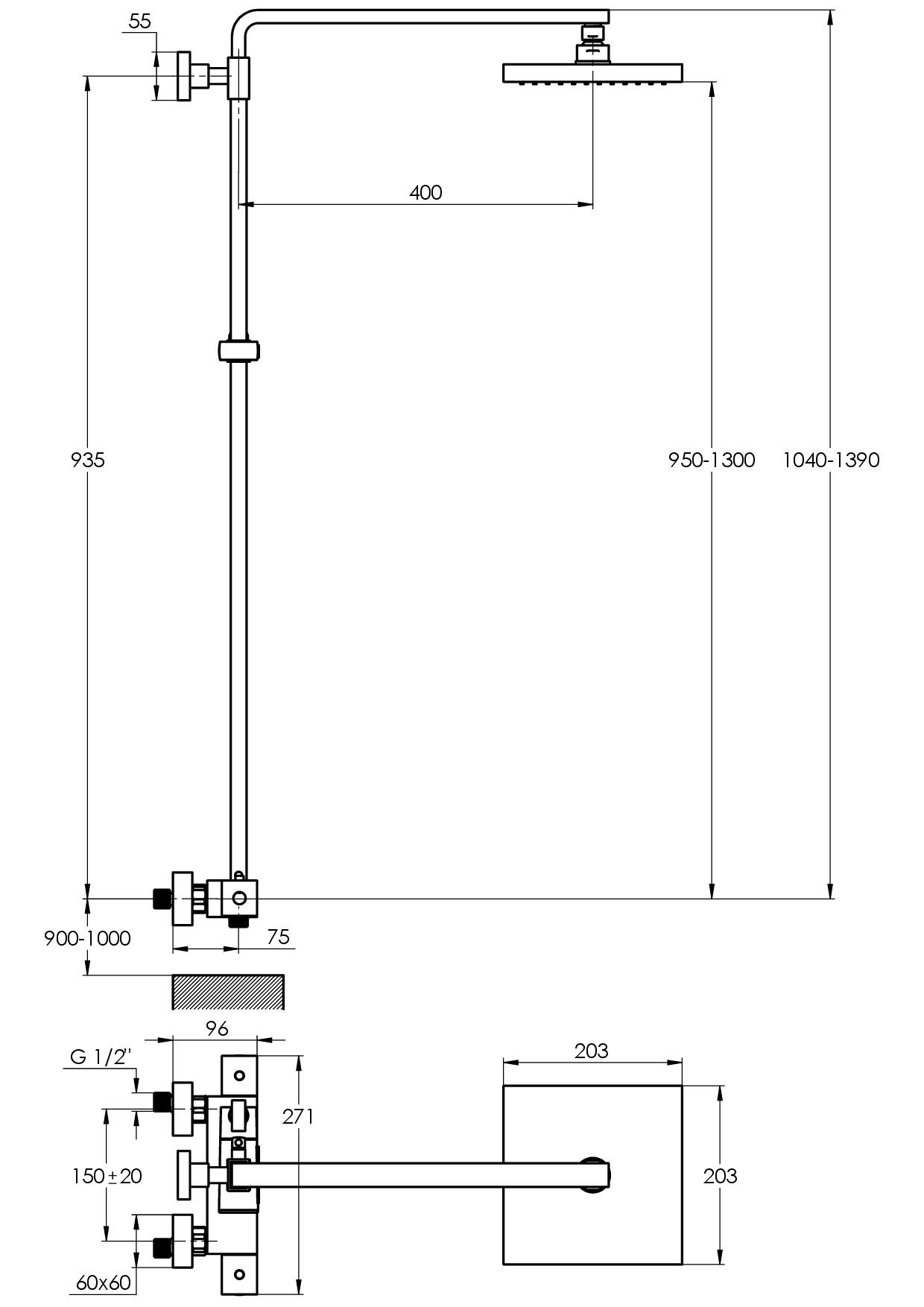 Treos Duschsystem Thermostat mit Regenbrause Serie 175