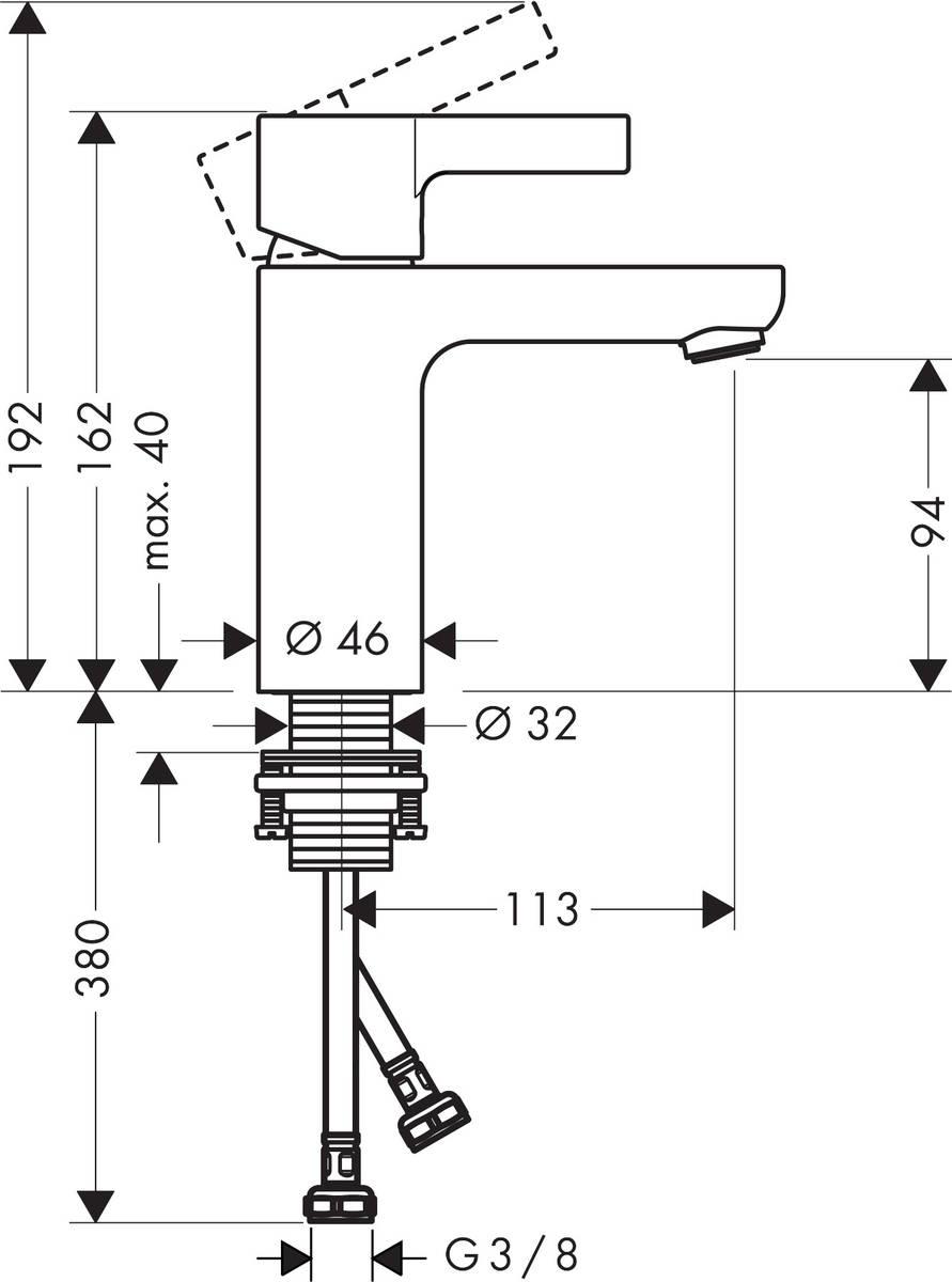 HG Waschtischmischer Metris S ohne Ablaufgarnitur chrom